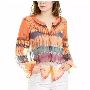 Ecru New Silk Tie Dye Button Down Top Multi Large